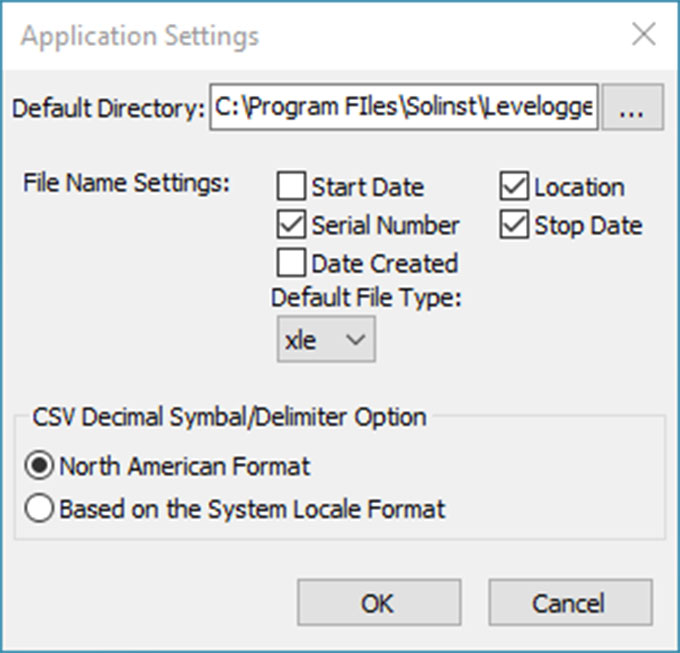 solinst levelogger software application setting window