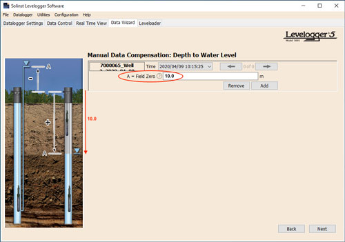 Figure 8-8 Manual Data Adjustment - Depth to Water Level