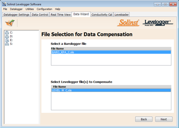 Figure 8-2 Selecting Files for Barometric Compensation