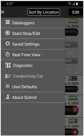 solinst levelogger app main menu android