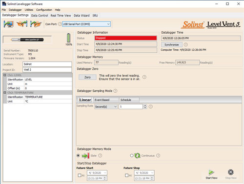 solinst levelogger software datalogger settings window