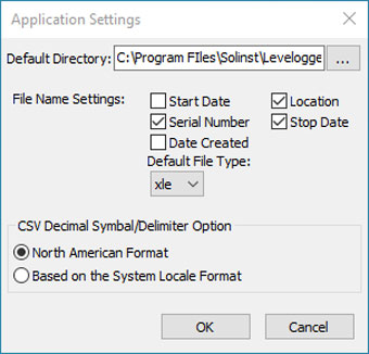 solinst aquavent application settings window