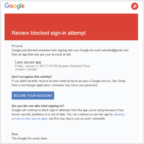 gmail warning screen from blocked levelsender email