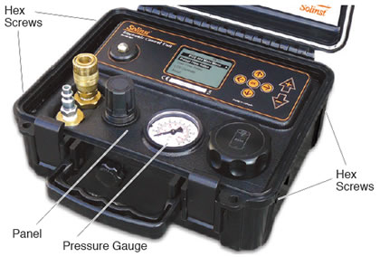 electronic pump control unit with pressure gauge and hex screws indicated