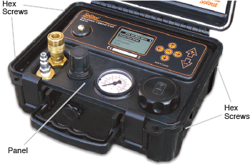 electronic pump control unit with hex screws indicated