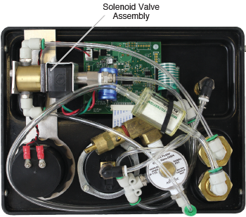 solenoid valve assembly shown installed within the electronic pump control unit