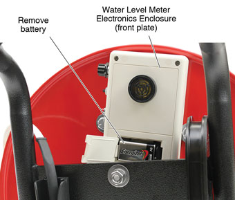 remove the battery from the water level meter electronics enclosure