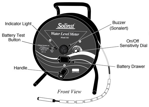 solinst 102 water level indicator front view diagram