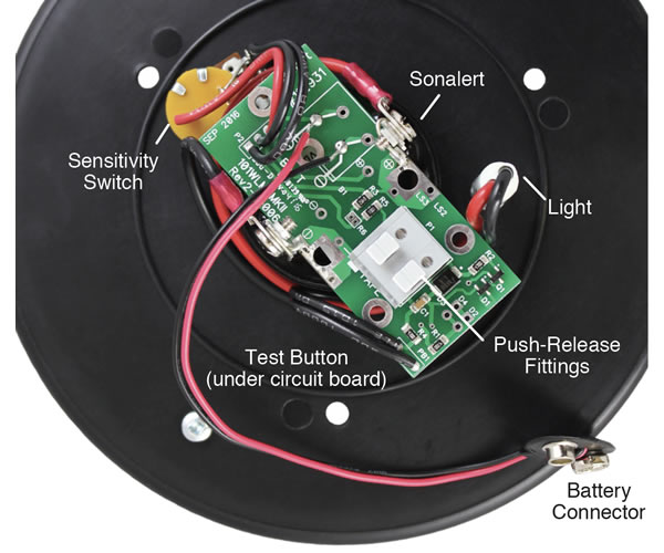 solinst 102m mini water level meter mk2 back of faceplate showing wiring connections and location of electrical components