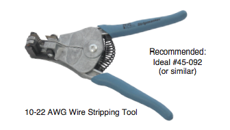 recommended wire stripping tool 10-22 awg ideal #45-092 or similar to perform this procedure on solinst 102 water level meter coaxial cable