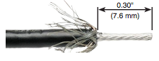 solinst 102 coaxial cable shown with trimmed tip and sheilding wires pulled back