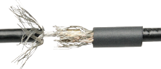 crimped 102 coaxial cables with shielding wires folded back over the crimped splice