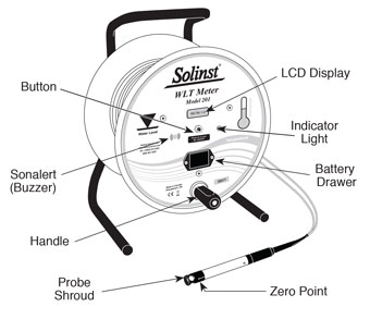 solinst water level temperature meter illustration front view